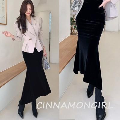 【全2色】ベルベットマーメイドスカート ブラック ベージュ【velvet-1028ask-sexy】【メール便対応商品】(1102)(lam)