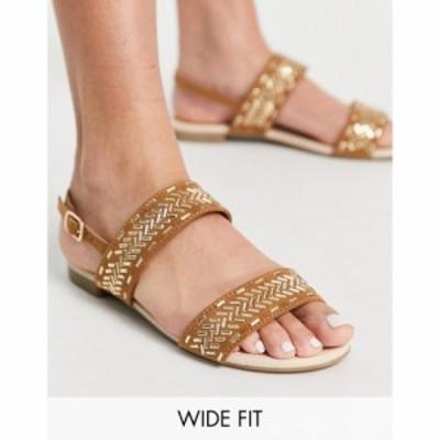 ミス ケージー Miss KG レディース サンダル・ミュール フラット シューズ・靴 detroit wide fit gold detail flat sandals in tan タン