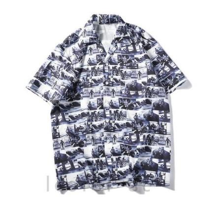 メンズアロハシャツ半袖tシャツ3Dプリントカジュアルワイシャツペアルック2枚前開きTシャツ夏ハワイ父の日ギフト新作夏旅行