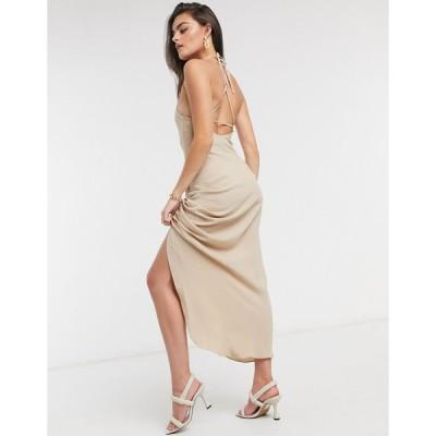 エイソス マキシドレス レディース ASOS DESIGN cami ruched front maxi dress in linen in stone エイソス ASOS ベージュ