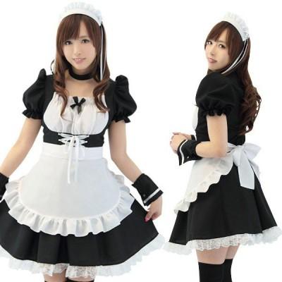 コルセットメイド(Mサイズ)女性用 メイド服 クラシック ワンピースはハイウエストのコルセットデザインでバストを強調  黒×白の王道カラー! tam