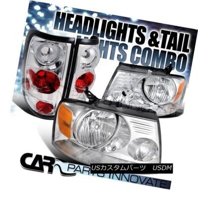 ヘッドライト 04-08 Ford F-150 XL XLTクリスタルクロムヘッドライト+ Cle   arテールブレーキラン
