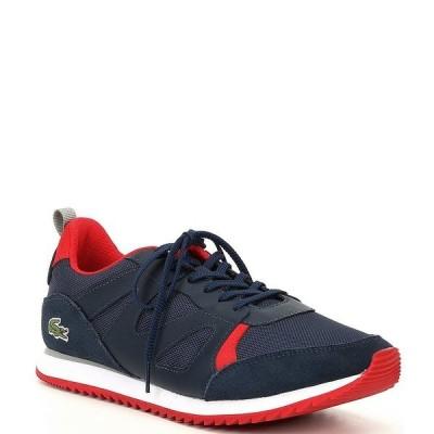 ラコステ メンズ スニーカー シューズ Men's Aesthet Textile Sneakers Navy/Red