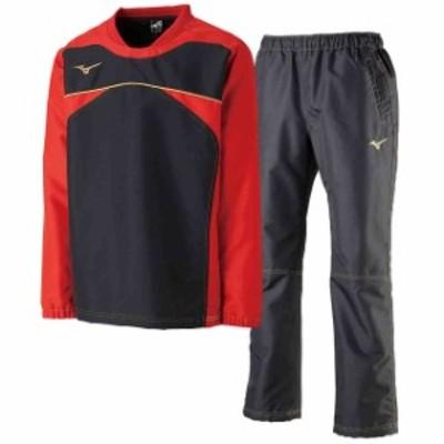 ミズノ  MIZUNO タフブレーカーシャツ&ロングパンツ上下セット ブラックチャイニーズレッド×ブラック