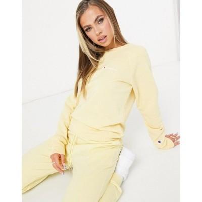 チャンピオン レディース パーカー・スウェットシャツ アウター Champion sweatshirt with logo in yellow Yellow