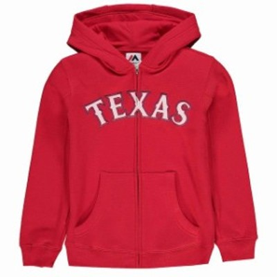 Majestic マジェスティック スポーツ用品  Majestic Texas Rangers Youth Red Team Wordmark Full-Zip Hoodie