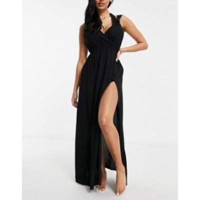 エイソス レディース ワンピース トップス ASOS DESIGN Fuller Bust recycled knot strap maxi beach dress in black Black