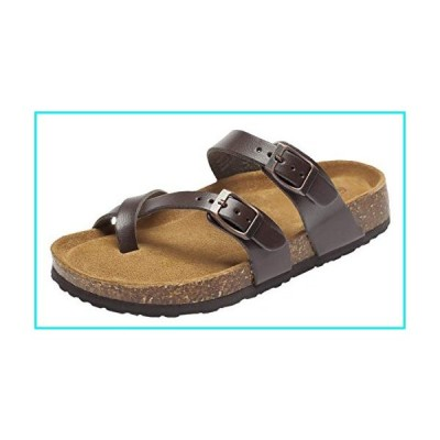CareBey Women's Casual Cork Sole Slide Sandals Brown US 8【並行輸入品】