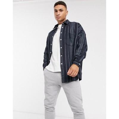 エイソス メンズ シャツ トップス ASOS DESIGN wool mix extreme oversized stripe shirt in navy texture Navy
