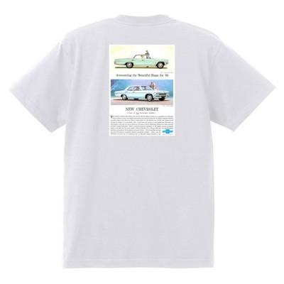 アドバタイジング シボレー インパラ 1965 Tシャツ 038 白 アメ車 ホットロッド ローライダー広告 ベルエア カプリス