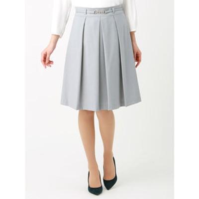 ◆【ウォッシャブル】ギャバストレッチ ベルト付きタックフレアスカート◆
