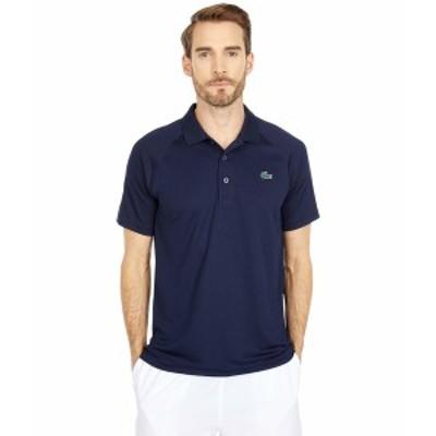 ラコステ メンズ シャツ トップス Short Sleeve Sport Breathable Run-Resistant Interlock Polo Shirt Navy Blue