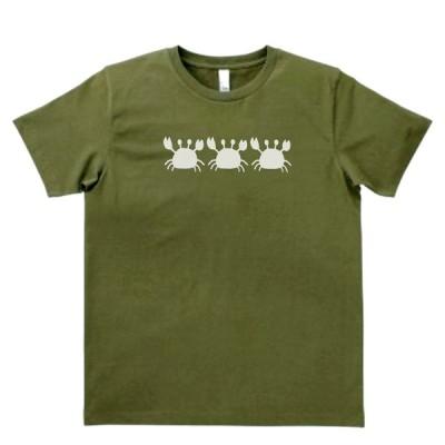 動物・生き物 Tシャツ 生き物 カニ カニ カニ カーキー MLサイズ