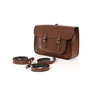 "15"" Chestnut Brown Backpack Satchel English Leather classic school bag 並行輸入品"