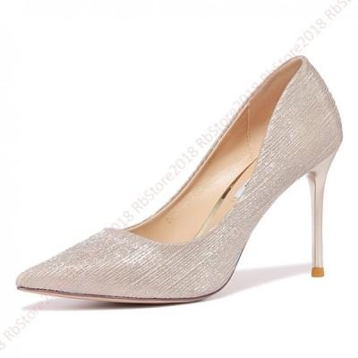 パンプス シルバー  歩きやすい  9.2cmヒール ポインテッドトゥ ピンヒール 靴レディース 脱げない コンビシューズ  幅広 美脚 女性用 シューズ  らくちん 甲高