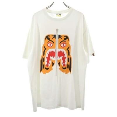 アベイシングエイプ 両面プリント 半袖 Tシャツ XL 白 A BATHING APE シャーク メンズ 古着 210605 メール便可
