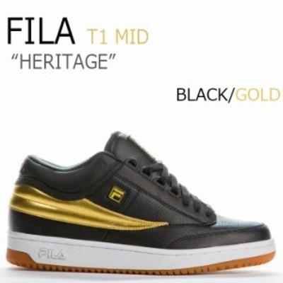 フィラ スニーカー FILA メンズ HERITAGE ヘリテージ T-1 MID ティーワンミッド ブラック ゴールド F1XKY5922 シューズ