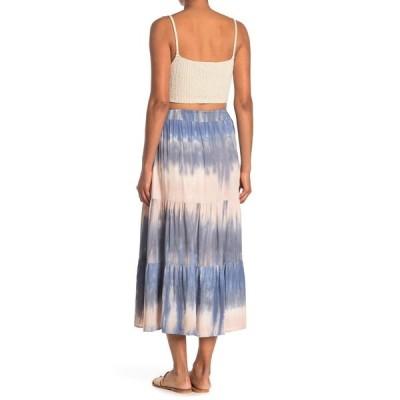 メロデイ レディース スカート ボトムス Tiered Tie Dye Print Midi Skirt PINK/BLUE TIE DYE