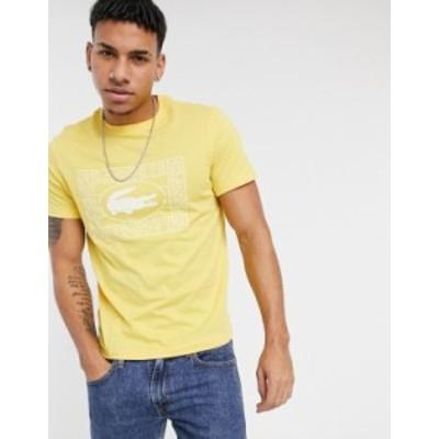 ラコステ メンズ シャツ トップス Lacoste crocodile print crew neck T-shirt Yellow