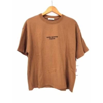 ジーナシス JEANASIS ロシア語ロゴプリントクルーネックTシャツ レディース FREE 中古 古着 210618