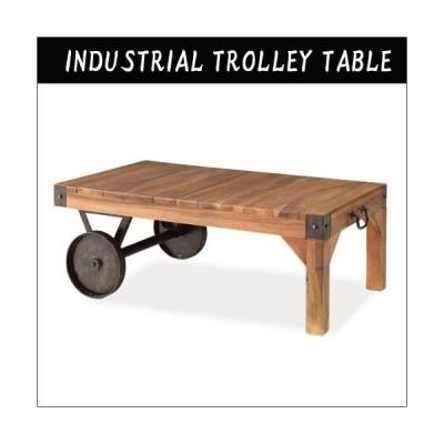 テーブル リビングテーブル センターテーブル アイアン 天然木 車輪 トロリー インダストリアル おしゃれ