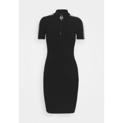 マイケルコース レディース ワンピース トップス HALF ZIP LOGO TAPE DRESS - Jumper dress - black black