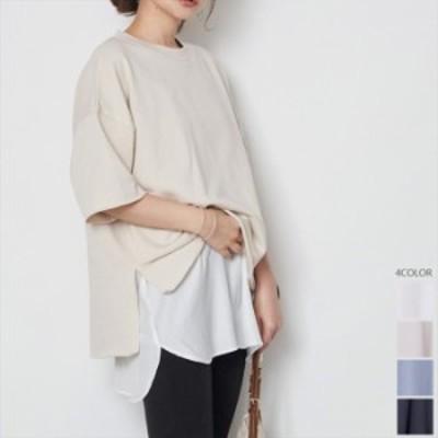 【2021春夏】【4カラー F】レイヤードスタイルにおすすめなゆるっとオーバーサイズのスウェットTシャツ♪ Tシャツ tシャツ ロンT ロン