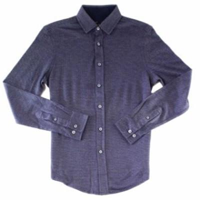 ファッション アウター Tasso Elba Mens Blue Size Medium M Button Down Long-Sleeve Shirt