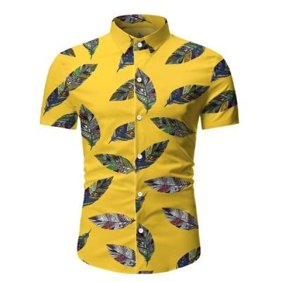 ハワイ男性のシャツスプライシングパターン半袖シャツ男性カジュアル休暇ターンダウン襟ブラウストップス  パラ hombre