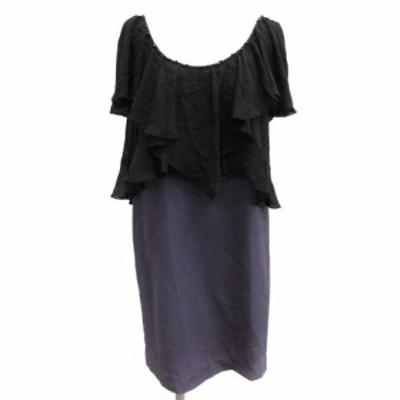 【中古】グレースコンチネンタル GRACE CONTINENTAL 34 XS ワンピース ひざ丈 フリル ビジュー装飾 黒 紫 レディース