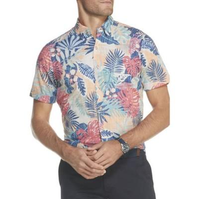 アイゾッド メンズ シャツ トップス Dockside Chambray Printed Short Sleeve Button Down Shirt