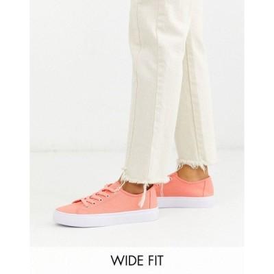 エイソス レディース スニーカー シューズ ASOS DESIGN Wide Fit Dusty lace up sneakers in bright pink Bright pink