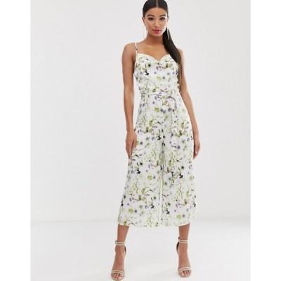 ミスガイデッド レディース ワンピース トップス Missguided satin culotte jumpsuit with self belt in white floral print