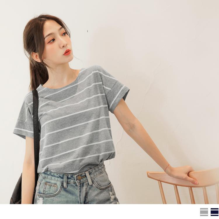 台灣製造.竹節棉簡約條紋彈性短袖上衣