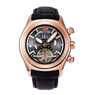 ファンミス 腕時計 メンズウォッチ Fanmis Men's Automatic Mechanical Calendar Black Leather Strap Wrist Watch Rose Gold & Black
