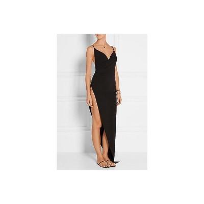 ドレス ラペルラ  LA PERLA Black Glimmering Soutache beaded stretch-crepe coverup size 8 745