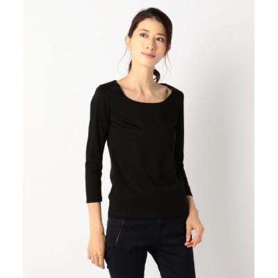 L size ONWARD(大きいサイズ)/エルサイズオンワード 【洗える】Premium Jersey Uネックカットソー ブラック系 L