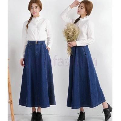 人気 デニム スカート DENIM SKIRT ドレス S M L 大きいサイズ カジュアルレディース 無地 シンプル 女性