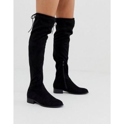 パブリックディザイア Public Desire レディース ブーツ シューズ・靴 Elle flat over the knee boots in black Black suede