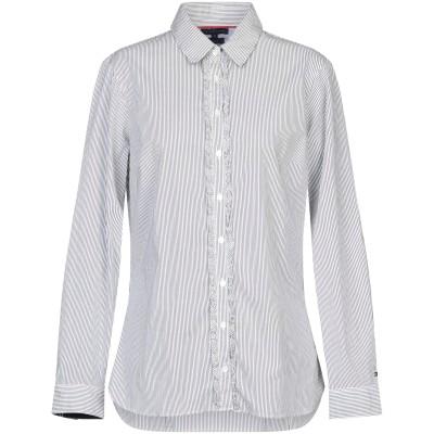 YOOX - トミーヒルフィガー TOMMY HILFIGER シャツ ブラック 10 コットン 97% / ポリウレタン 3% シャツ