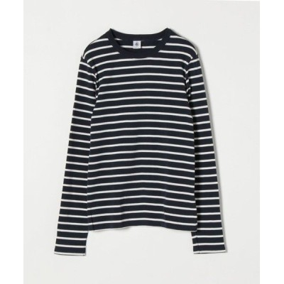 SHIPS for women/シップスウィメン 【SHIPS any別注】PETIT BATEAU: サコッシュ付きボーダー ロングスリーブ Tシャツ ネイビー ONE SIZE
