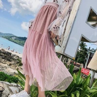 華やかで可愛いレースのスカート 色々なスタイルが楽しめる優秀アイテム!ベージュ ピンク ブラック M