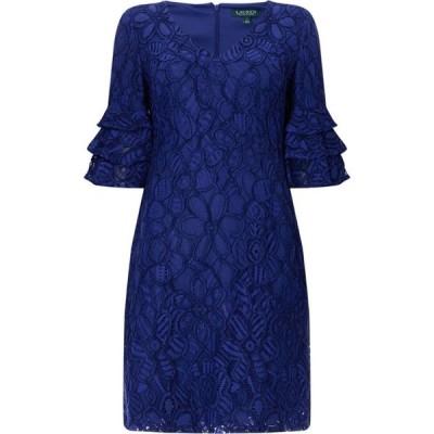 ローレンマーキン Lauren レディース パーティードレス ワンピース・ドレス Lace Frill Sleeve Dress Blue