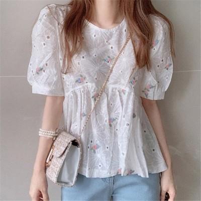 ブラウス レディース きれいめ 春 夏 上品 半袖 Tシャツ シャツ トップス パフスリーブ オシャレ 韓国風 刺繍 ホワイト 白 通勤 OL 可愛い ゆったり 体型カバー