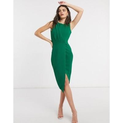 クローゼットロンドン レディース ワンピース トップス Closet draped sleeveless wrap dress in green Green
