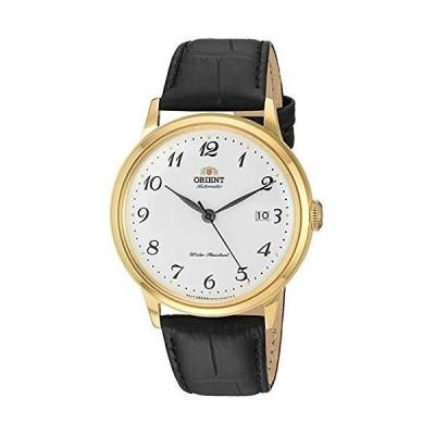 Orient メンズ 「バンビーノバージョン5」 日本製自動/手巻き腕時計 ゴールド/ホワイト。