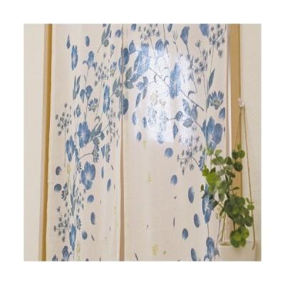 のれん サークルフラワー ブルー 巾85cm×丈150cm