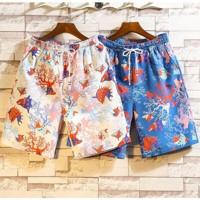 メンズ新作半ズボン パンツ ショート ハーフパンツ プリント 花柄 大きいサイズ カジュアル