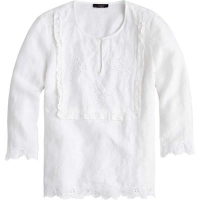 ジェイクルー J.Crew レディース ブラウス・シャツ トップス Jumento Embellished Bib Blouse in Linen White