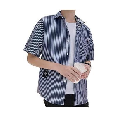 [Sposee] 半袖 シャツ ボタンダウン オックスフォードシャツ 綿シャツ トップス ストライプ M 〜 XL メンズ (ネイビー L)